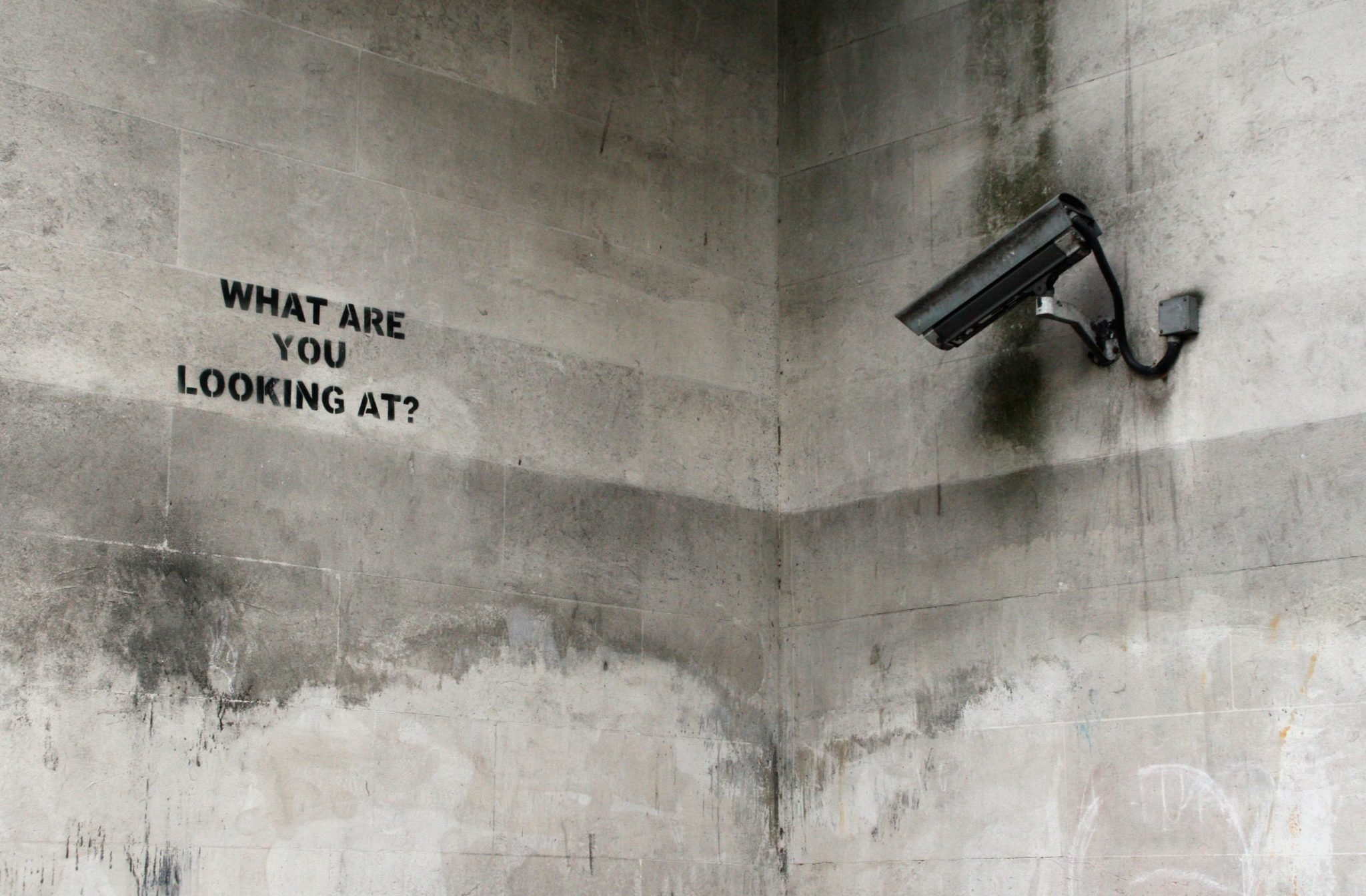 Camera directed at a wall